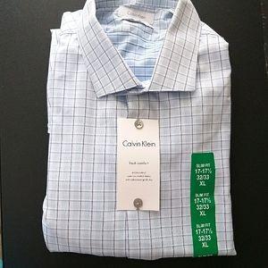 NWT Calvin Klein Dress Shirt Slim Fit 17-17.5 XL
